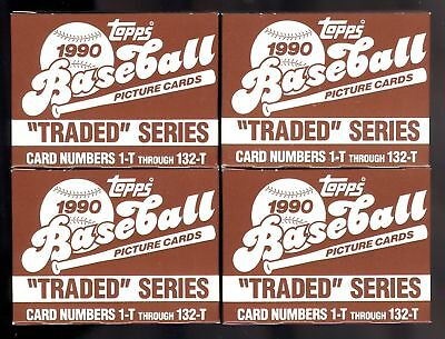 FOUR LOT 4X 1990 Topps Traded Baseball Card Complete set Box Collection