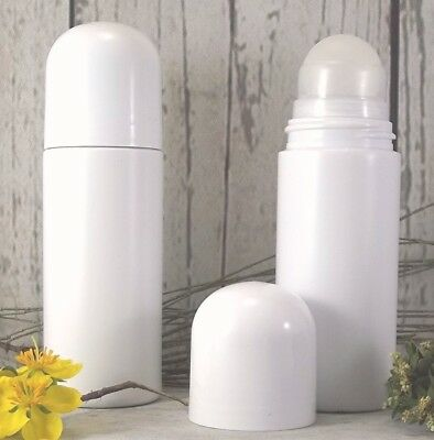Roll On White Bottle Empty Plastic 75 ml Refillable Bottle DIY. Lotion Deodorant