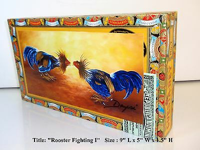 "Price Reduce ! Original Cigar Boxes w/  ""Rooster Fighting"" art on top. CCCR"