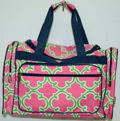 NGIL Hot Pink Lime Geometric Clover Print Canvas Duffle Bag