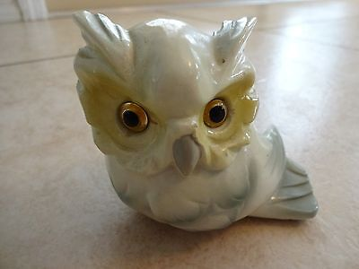 Vintage wise owl figurine Made in Japan green gray highlighted resin?