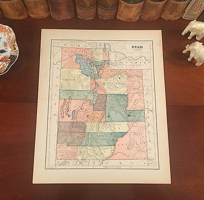 Original 1890 Antique Map UTAH Salt Lake City Logan Heber Draper Sandy Orem Atla