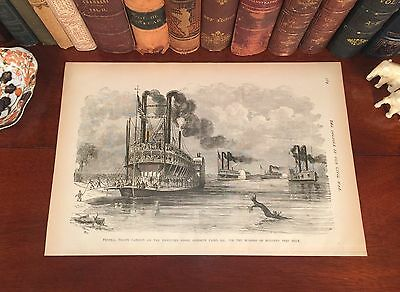 Original 1884 Antique Civil War STEAMBOAT Wood Engraving 133-yrs-old