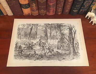 Fine Original Antique Civil War CONFEDERATE CAVALRY Wood Engraved Panoramic Map