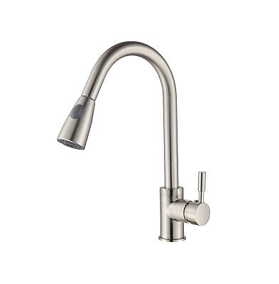 Kitchen Faucet Brushed Nickel Pull Out Sprayer Home Sink Mixer Tap Single Handle