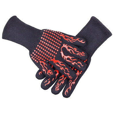 Silicone BBQ Gloves Pair Kitchen Oven Mitts Non Stick Pot Heat Proof Resistant