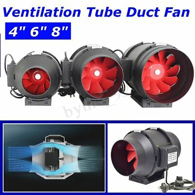 3 Sizes Black 4''/6''/8'' Inline Ventilation Tube Duct Fan with Speed Controller