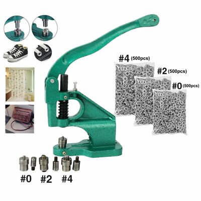 With1500pc Silver Grommets Grommet Eyelet Hole Punch Machine Hand Press 3Dies AU