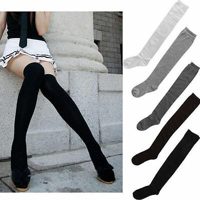 New Solid Ladies Cotton Stockings Women Girl Thigh High Over The Knee Long Socks