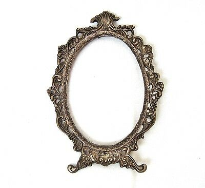 Vintage antique ornate brass frame Victorian Table /Vanity/ Boudoir mirror