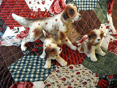 Vintage Set of (Spotted Brown & White) Irish Setter Dog Family  Figurines Japan