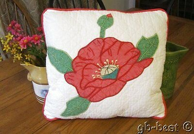 Romantic 30s Applique Pink Poppy Vintage QUILT Pillow Wrapped in Bows #1