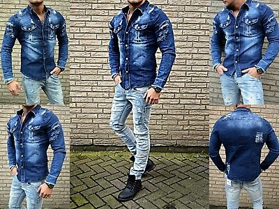 Destroyed Washed Vintage Young Wild Fashion Slim Fit Herren Jeanshemd Biker Mode