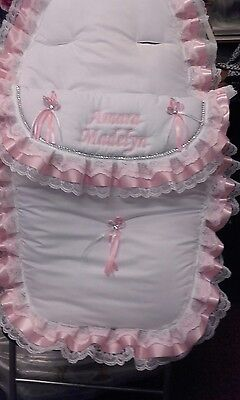 personalised footmuff  cosytoes **NEW** white/pink bling
