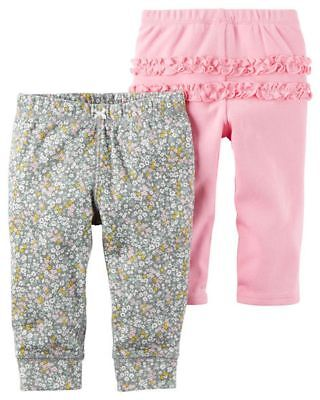 NEW Carter's 2 Pack Girls Pants NWT 12m 18m 24m Ruffle Rear Pink & Olive Floral