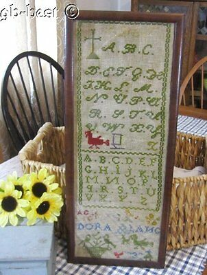 Antique School Stitched Sampler BIRDS Dora Lang 19th Century Primitive