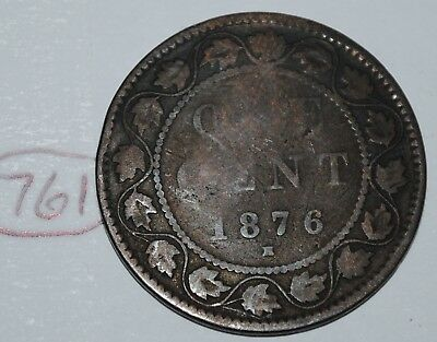 Canada 1876 H 1 Large cent Canadian one Victoria Penny coin Lot #761