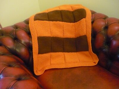 Hand Knitted Pet Blanket/ideally For A Small Dog Or Cat. New/soft. Brown/orange