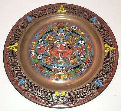 "Vintage Mexico Mayan Aztec Calendar Sun God Metal 6"" Mexico Plate Colorful"