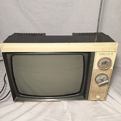 "Vintage Zenith Tube TV 13"" Television USA Made Snow Picture Shows Tested Working"