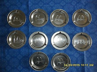 10 Vintage McDonalds Tin Ashtrays Lot Disposable Metal Embossed Advertising