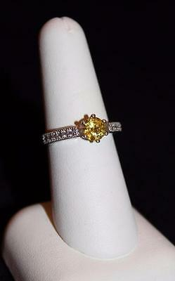 Vintage Silver 925 Rnd Yellow Stone And Cz Filigree Ring Size 7.25  (S8)