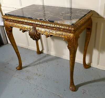 Old French Marble Top Gilt Console or Hall Table