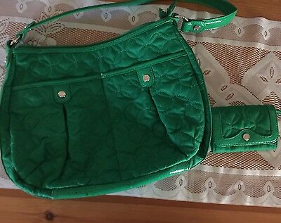Vera Bradley Kelly Green Microfiber Purse And Coin Purse/Key Ring EUC