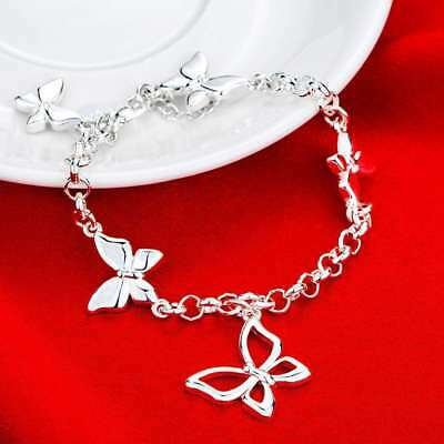 Wholesale Fashion 925Sterling Solid Silver Jewelry Butterfly Chain Bracelet H537