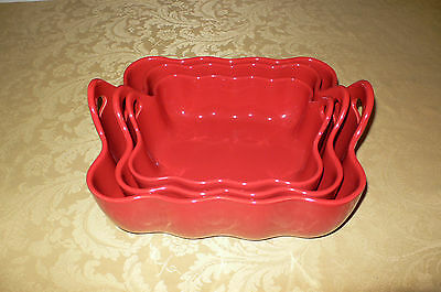Sur La Table Red 3 Piece Stacking Bowls Or Casseroles Portugal Rectangle