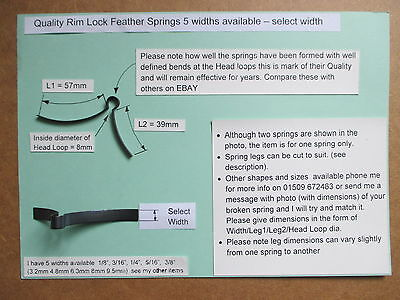 "SPECIAL 9.5mm 3//8/"" RIM LOCK SPRING LOCKSMITH replacement restoration 2"