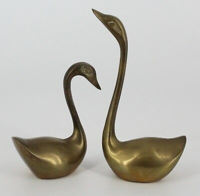 Solid Brass Geese Ducks Goose Lot Of 2 Home Decoration Office Decoration