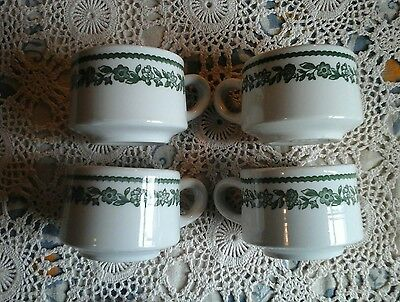 4~Buffalo China Restaurant-ware Coffee Cups Kenmore Pattern Green Floral Band