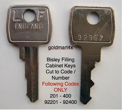 Replacement Bisley Filing Cabinet Key Cut to Code Number 201- 400 92201 - 92400