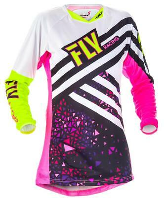 Fly Kinetic Neon Pink Hi-Vis Women's Small SM ATV MX Off Road Jersey 371-629S