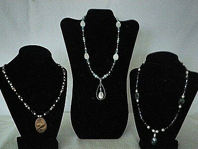 Lot Of 3 Handmade Necklaces Crystals Pearls Brown Blue White Black Turquoise