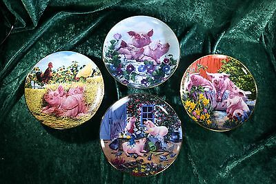Pigs in Bloom Danbury Mint Joan Wright Collectible 8 Plates Complete Set COA