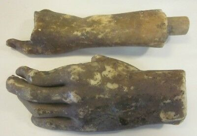 50's VINTAGE PAIR OF WOOD HANDLED WAX MUSEUM HANDS PARTS LOT OF 2