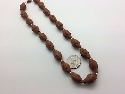 Chinese Hediao Fruit Pit Carved Bead Necklace (19) Figures