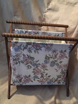 Vtg  Spun Wood Folding Sewing Knitting Standing Fabric Caddy Tote Floral Birds