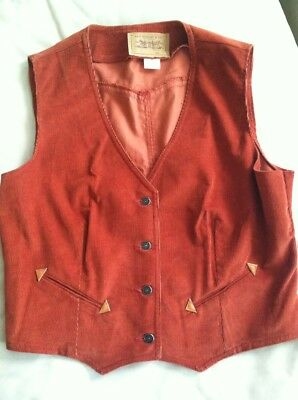 Levi Vest Vintage Corduroy Western Point Womens 70'S San Francisco Calif. USA