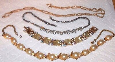 Lot of 4 Marked Vintage Necklaces: SARAH COV - GARNE JEWELRY - TRIFARI - ART