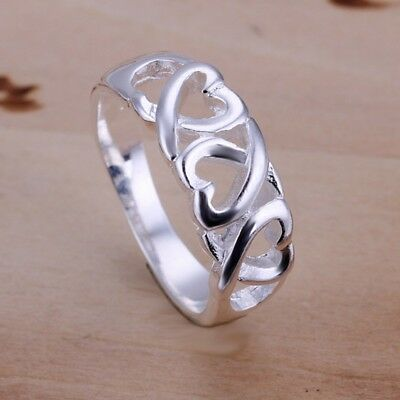 Fashion 925Sterling Solid Silver Jewelry 3 Heart Rings For Women R090