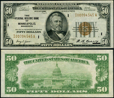 FR. 1880 I $50 1929 Federal Reserve Bank Note Minneapolis VF+