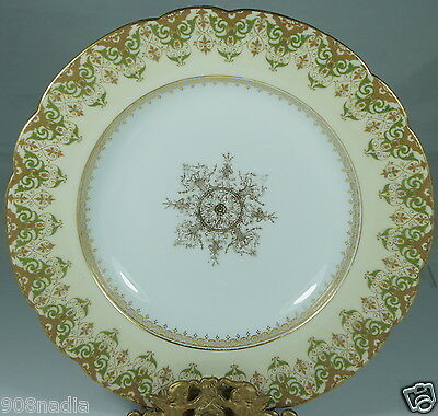 Antique Limoges Soup Plate,cream,green & Gold,scalloped Edges