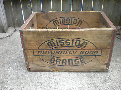 """Old Vintage Antique """"Mission Orange""""  Naturally Good Wooden Crate Box -Nice"""