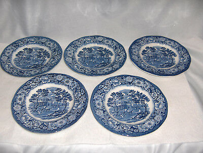 5 Vntg Bread Plates Staffordshire China England Liberty Blue Monticello NICE