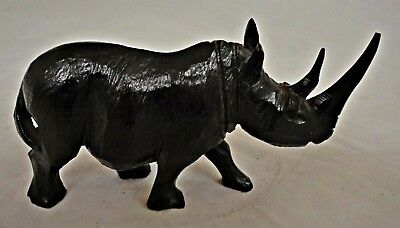"""5 1/2"""" Hand Carved Wooden Rhinoceros"""