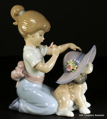 "Lladro ""an Elegant Touch"" #6862 ~ Girl, Puppy Wearing Hat, Flowers - **mint**"