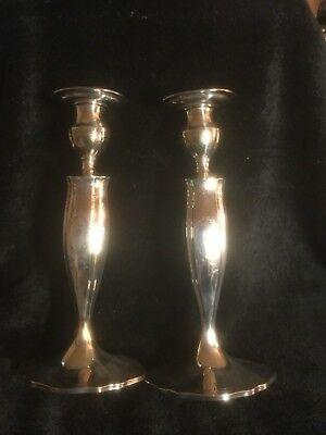 Antique Pair of Tiffany & Co. Sterling Silver Etched Candlesticks